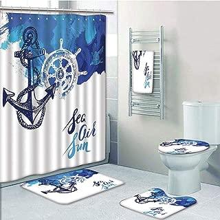 Bathroom 5 Piece Set Shower Curtain 3D Print Customized,Nautical Decor,Vivid Ocean Back with Paint Effects with Wind Rose and Rudder Cruise Image,Blue White,Bath Mat,Bathroom Carpet Rug,Non-Slip,Bath