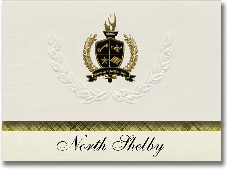 Signature Ankündigungen North Shelby (Shelby, NC) Graduation Ankündigungen, Ankündigungen, Ankündigungen, Presidential Stil, Elite Paket 25 Stück mit Gold & Schwarz Metallic Folie Dichtung B078VD39GZ   | Adoptieren  3a93fd