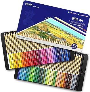 TOPERSUN 72 Crayon de Couleurs Aquarelles Numérotés Set de 72 Couleurs Aquarellables Uniques Pré-taillé pour Coloriage en ...