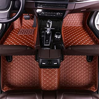 Luomp Custom Car Tapetes de Piso, Coche Impermeable Antideslizante de Cuero de tapetes para Nissan Patrol 2012-2018 Segunda Fila 4/6 Puntos, Brown, Nissan GT-R 2012-2016 Manual de Freno de Mano