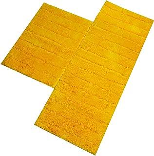 U'Artlines Kitchen Mat, Decorative Non-Slip Microfiber Doormat Bathroom Mats Shower Rugs for Living Room Floor Mats (17.7x25.6+17.7x47.2, Striped Yellow)