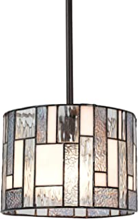 VINLUZ Tiffany Style 1 Light Wide Striped Art Glass Kitchen Pendant Lighting for Dining Room Cafe Corridor Entryway