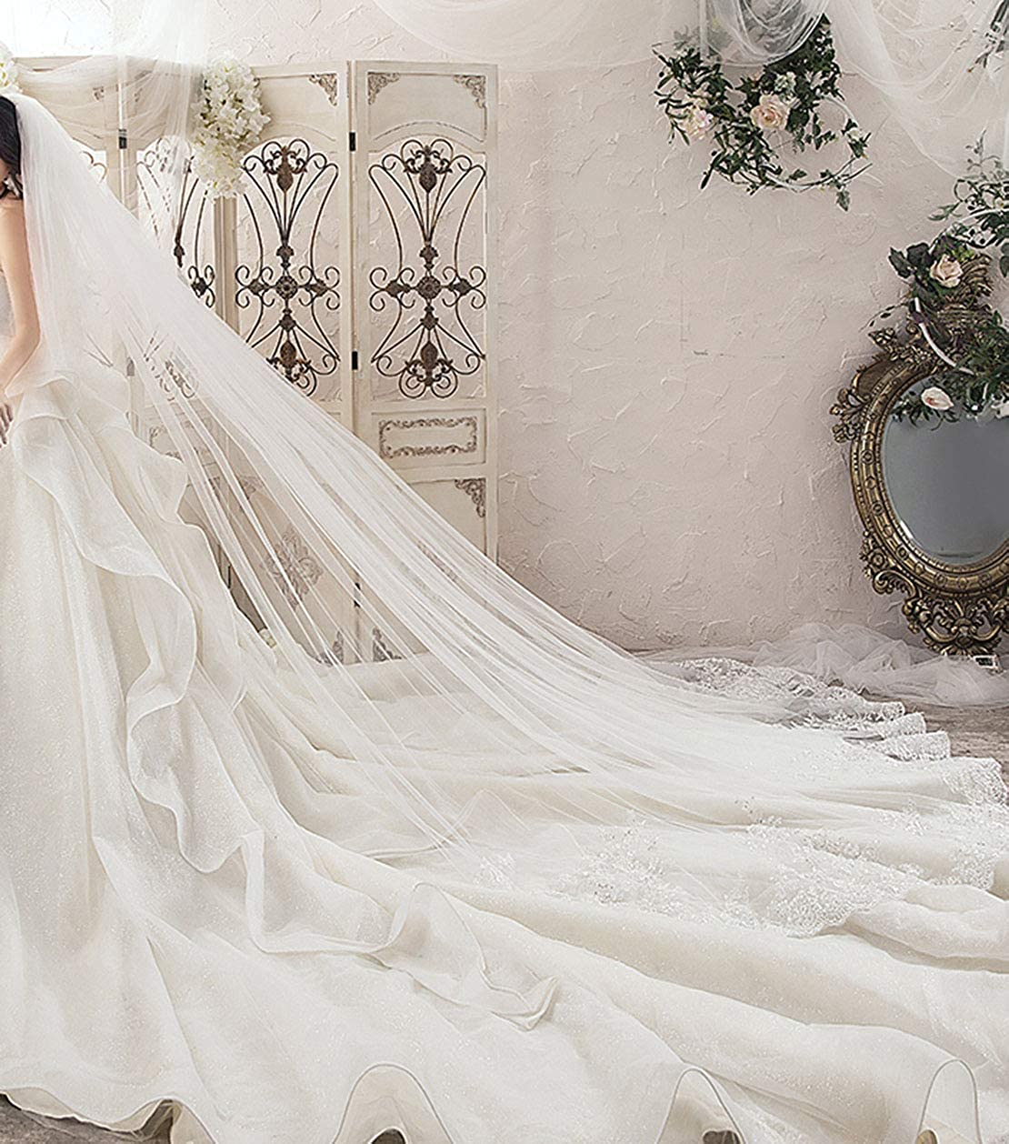 Newdeve Wedding Veils Cathedral Length 2 Tier Long Sequins Lace Edge Blusher with Comb
