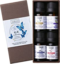OZRO Romance & Relaxation Aromatherapy Essential Oil set - Certified 100% Pure Essential oils - Highest Quality Therapeutic Grade – Lavender, Geranium, Clary Sage, Frankincense – 0.33 Fl. Oz. (10 ml)