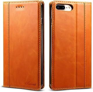 iPhone8 plus ケース 手帳型 本革 iphone7plus 良い触り心地 アイフォン8plusカバー 財布型 アイホン7プラス マグネット式 横置き機能 カード収納 Ayakumo 7プラス/8プラス用 オレンジ色 -5d27-