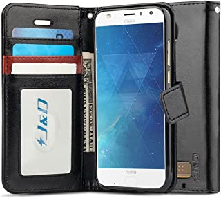 J&D Case Compatible for Moto Z2 Play Case, [Wallet Stand] [Slim Fit] Heavy Duty Shockproof Flip Cover Wallet Case for Motorola Moto Z2 Play Wallet Case - [Not for Moto Z Play/Moto Z3 Play] - Black