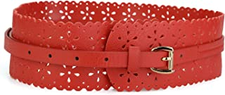 uxcell® Vintage Hollow Floral Leather Cinch Waistband Wide Belts With Buckle for Women