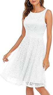 comprar comparacion Bbonlinedress Vestido Corto Elegante Mujer De Encaje Boda Playa Fiesta Noche Cóctel Sin Mangas