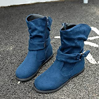 Short Tube Flat Heel Knight Boots Women's Boots X5 Blue 40 Fashionable Appearance Soft Easy to Clean - Blue 40