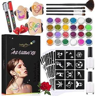 Luckyfine Kit de Tatuajes Temporales, Brillos Corporales, Brillos de Tatuaje - 24 Brillos, 125 Plantillas de Tatuaje, 4 Pinceles, 2 Pegamentos, 2 Marcadores - Seguro, Impermeable y Duradero