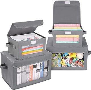 DIMJ Boîtes de rangement avec couvercle, Lot de 4 boîtes de rangement pliables, Cube de rangement avec fenêtre transparent...