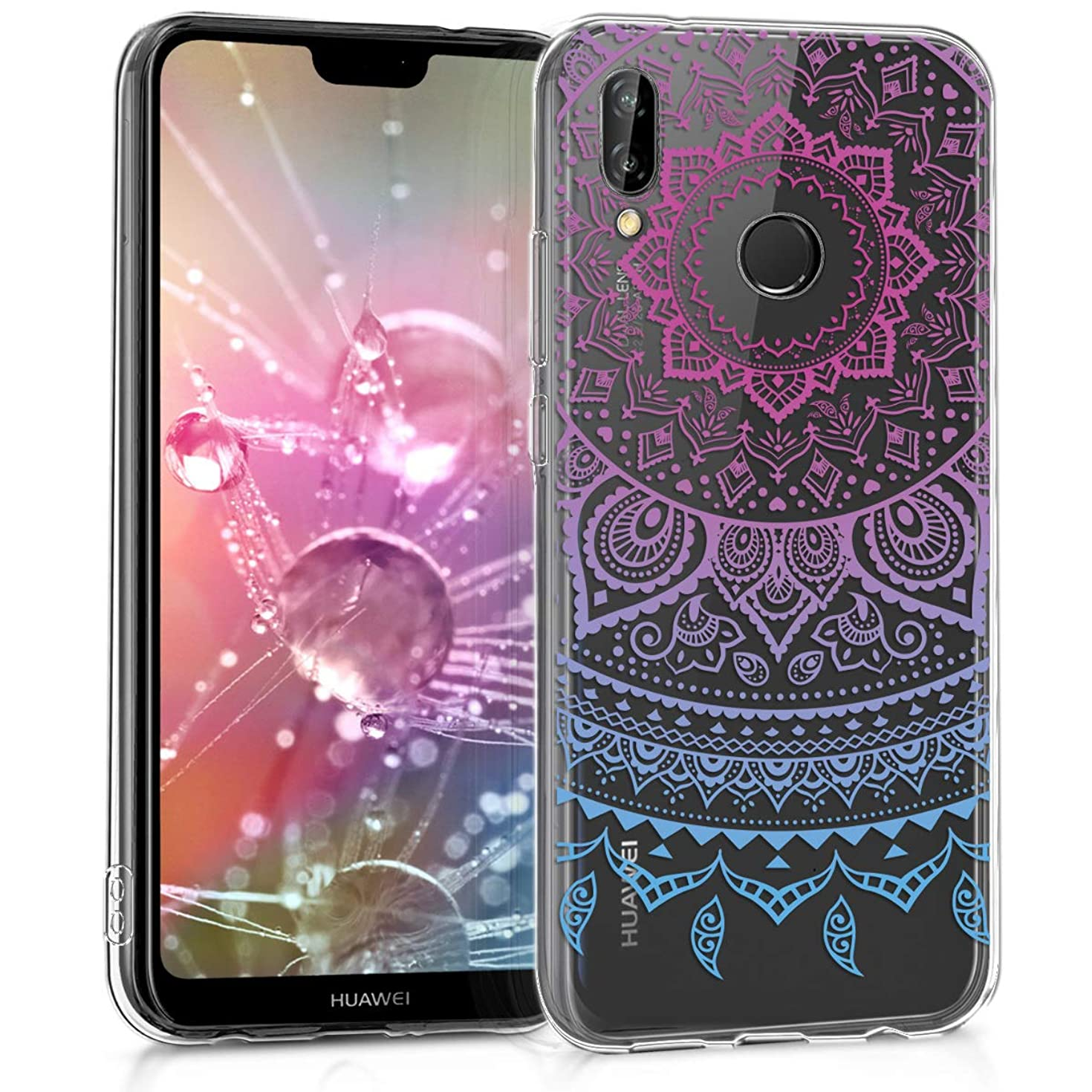 kwmobile TPU Silicone Case for Huawei P20 Lite - Crystal Clear Smartphone Back Case Protective Cover - Blue/Dark Pink/Transparent
