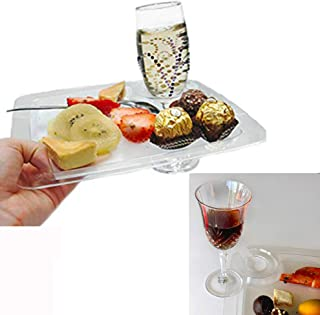 """JCHB 9"""" 24pc Clear Stemware Glass Holder Plates for Cocktail, Wine Tasting, Dinner, Appetizer, Dessert, Food Buffet, Washable Party Plates"""