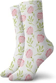 Pengyong, Calcetines deportivos para hombre y mujer con diseño de flores, transpirables, transpirables, para correr, entrenar, trabajar, caminar, para hombres y mujeres