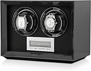 Compact Double Watch Winder Box for Winding 2 Automatic Watches with LCD Touchscreen Display for All Watch Brands and All Watch Sizes