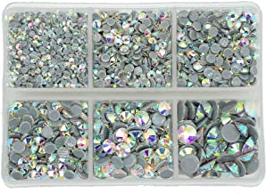 Queenme 3300pcs AB Hotfix Crystals Mixed Size Flatback Rhinestones for Clothes Shoes Crafts Hot Fix Round Glass Gems Stones Flat Back Iron on Rhinestones for Clothing 2MM-6MM