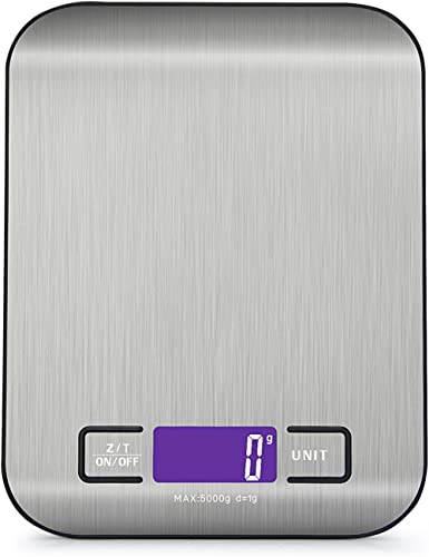 Digital Kitchen Scale Multifunction Food Scale, Max.11 lb 5 kg, Silver, Stainless Steel (18x14cm)