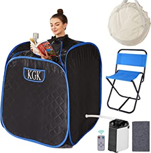 KGK Portable Steam Sauna Spa, 3L Personal Foldable Therapeutic Sauna for Relaxation, Home Sauna Spa Set with Steam Pot,Remote Control, Foldable Chair, Absorbent Pad,Carrying Bag(Black)