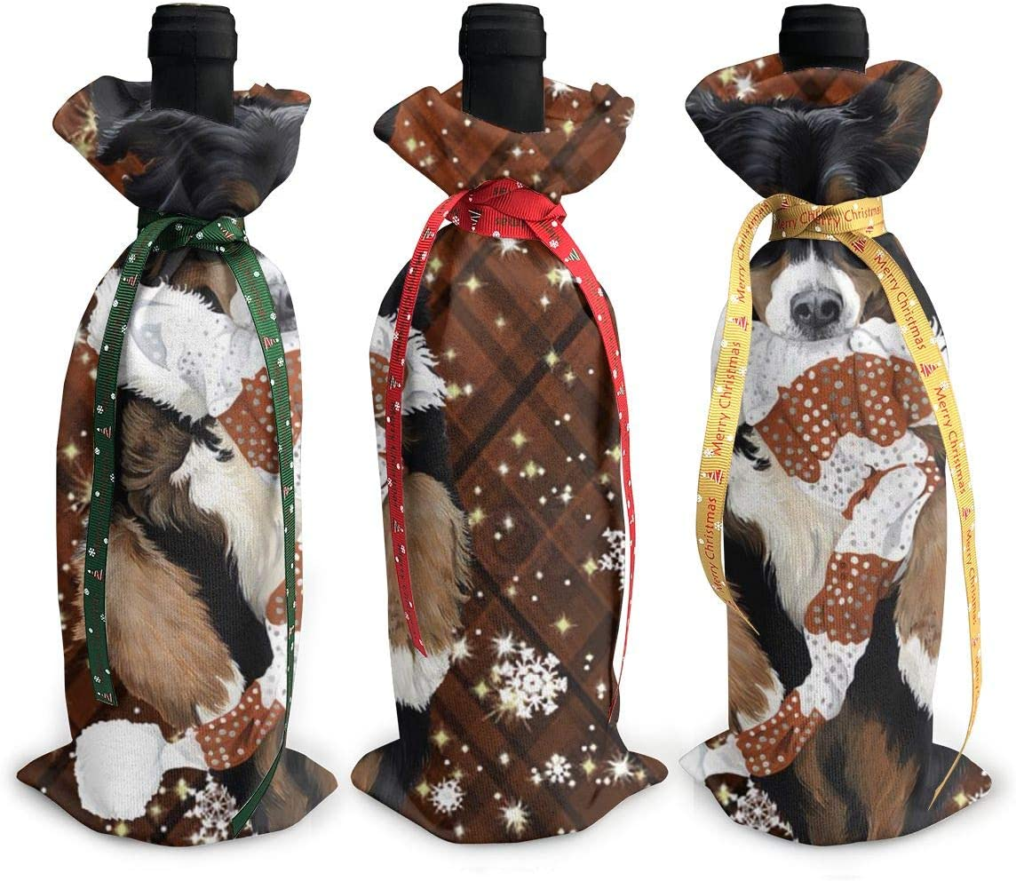 Border Collie BC Now free shipping Dog Merry Max 41% OFF Me3Pcs Xmas Red Wine Glass Christmas