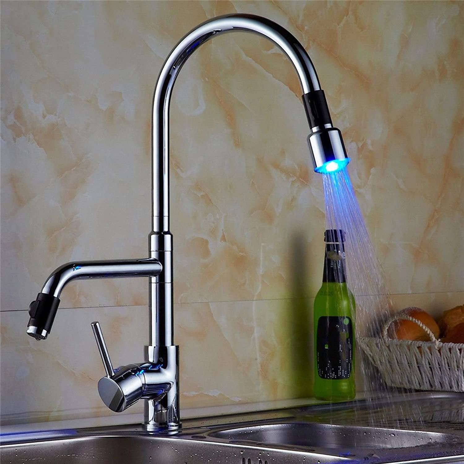 Modern simple copper hot and cold kitchen sink taps kitchen faucet Kitchen faucet full copper chrome sink faucet LED 360 degree redating kitchen faucet Suitable for all bathroom kitchen sinks