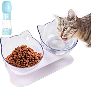 Cat Bowl 15°Tilted Cats Food Bowl Double Cat Dishes Pet Feeder Dog Feeding Bowl Raised with Stand for House Pet Cat Puppy,...