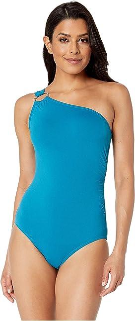 e1646c00781 LAUREN Ralph Lauren Bel Aire One Shoulder Tie One-Piece Swimsuit at ...