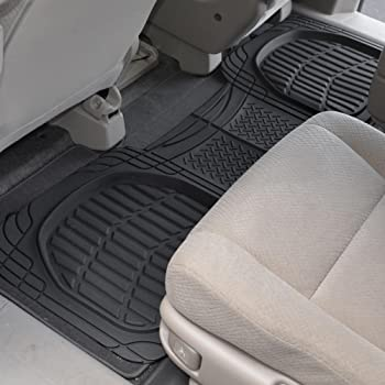 Motor Trend 4pc Black Car Floor Mats Set Rubber Tortoise Liners w/ Cargo for Auto SUV Trucks - All Weather Heavy Duty...