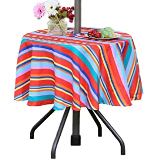 Poise3EHome 52 inches Outdoor/Indoor Waterproof Spillproof Round Tablecloth Striped with Umbrella Hole for Camping, Picnic, Afternoon Tea, BBQ, Color Stripe