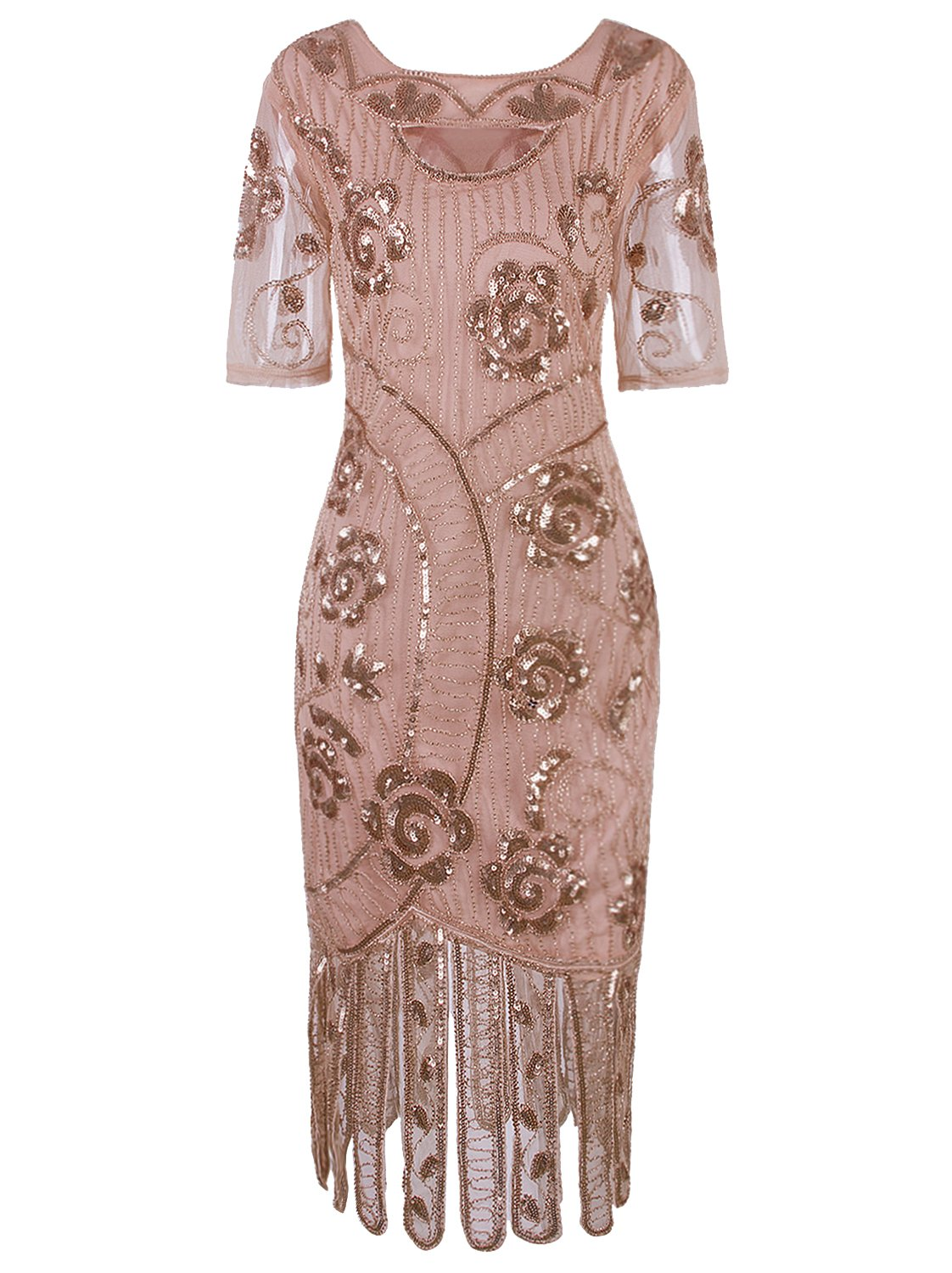Mother Of The Bride Dresses - Women Vintage 1920s Dresses Floary Beaded Cocktail Flapper Dress With Sleeves Gatsby Party