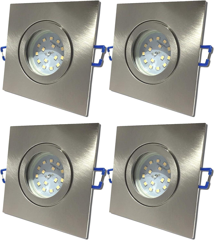 4 Stück IP44 SMD LED Bad Einbauring Neptun 230 Volt 3 Watt Eckig Farbe Eisen geb. Lichtfarbe Neutralwei