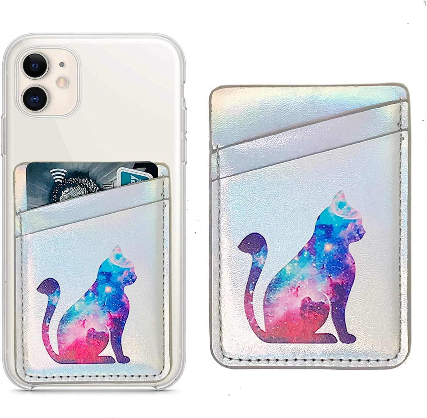 Oddss Cell Phone Card Hoder Sleeves RFID Blocking PU Leather Pocket Wallet Stick on Cell Phone Credit for Back of iPhone,Android Smartphones (Nebula Cat)