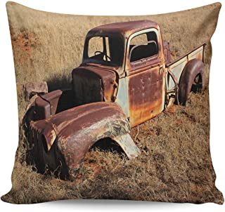 Throw Pillow Covers 18×18inch Soft and Skin Friendly Pillow Case Cushion Cover with Invisible Zipper-,Home Decor Pillowcase for Girls/Boys Room- Rusty Tractor on Deserted Land