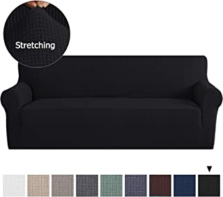 PrimeBeau Durable Soft Sofa Slipcovers for Furniture Sofa, Black Spandex Slipcover/Lounge Cover, Stretch Anti-Wrinkle Slip Resistant Form Fit Slipcover 3 Seater Sofa Cover, Charcoal Gray