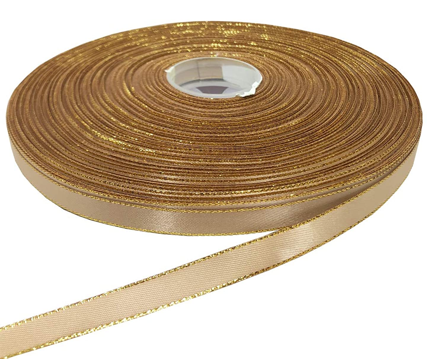 PartyMart 3/8 inch Satin Ribbon with Golden Edges, 100 yd, Tan
