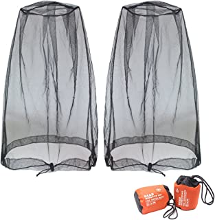 Benvo Head Net Mesh, Protective Cover Mask Face from Insect Bug Bee Mosquito Gnats for Any Outdoor Lover- with Free Carry Bags (2pcs, Black, Updated Big Size)