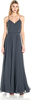 Women's Inesse Thin Strap V Neck Long Chiffon Gown