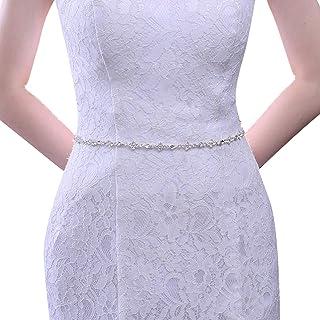 حزام زفاف من ULAPAN مزين بأحجار الراين بتصميم رفيع فضي لإشبينة العروس أحزمة فساتين للنساء لحفلات الزفاف (S305)
