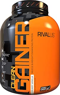 Rivalus Clean Gainer - Smooth Vanilla 5 Pound - Delicious Lean Mass Gainer with Premium Dairy Proteins, Complex Carbohydra...