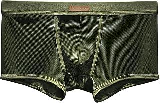 Arjen Kroos Men's Sexy Mesh Boxer Briefs Shorts Hipsters Trunk Underwear (D5-Green, x_l)