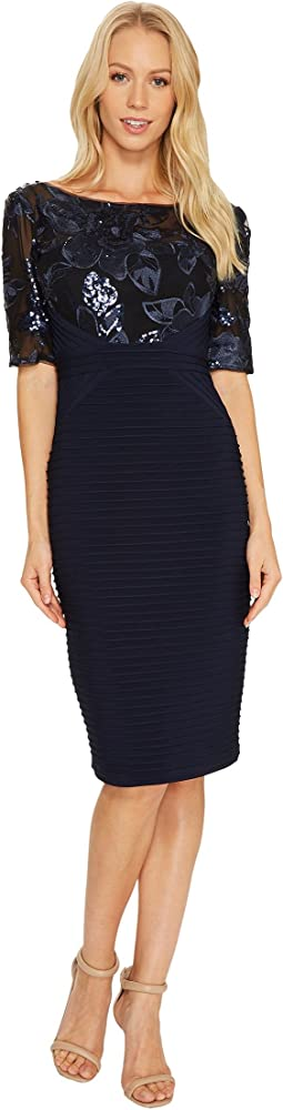 Adrianna Papell - Cocktail Dress with Floral Sequin Bodice with Pin Tuck Jersey Skirt