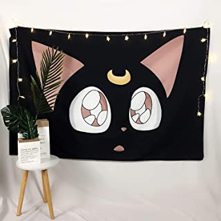 Sailor Moon Cat Luna Tapestry Poster, Boutique Cute Tapestry Wall Hanging Anime Wall Decorations for Living Room Bedroom H...