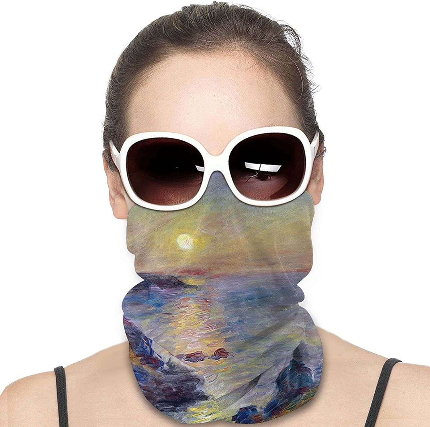 Seascape Sunset sea Beach by Pierre Round Neck Gaiter Bandnas Face Cover Uv Protection Prevent bask in Ice Scarf Headbands Perfect for Motorcycle Cycling Running Festival Raves Outdoors