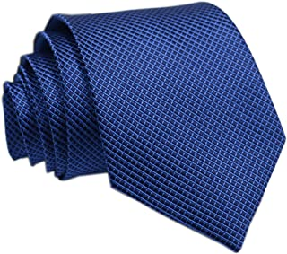 Secdtie Men's Solid Color Gingham Checkered Ties Texture Smooth Formal Neckties