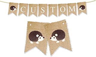 Hedgehog Personalized Banner   Custom Woodland Birthday Party or Baby Shower Decoration