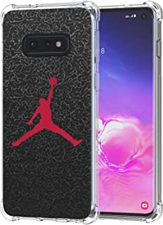 Galaxy S10e Case, Ailiber Basketball Slam Dunk Jump Man AJ Air MJ NBA Sport Red Black Thin Light Shock Absorption Soft TPU Bumper Protective Cover for Samsung Galaxy S10 e Lite 5.8 inch - Basketball