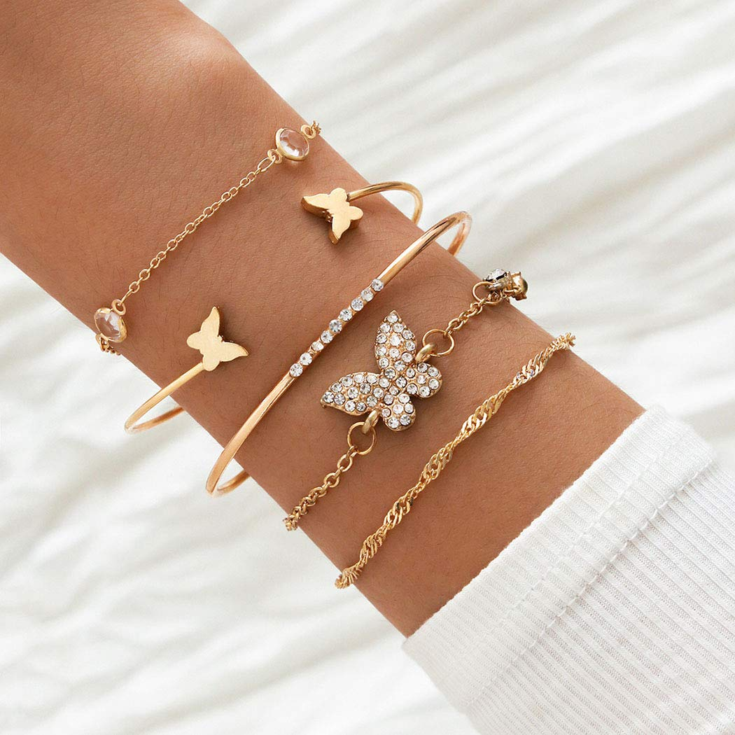 5PCS Fashion Crystal Bracelets Sets for Women Gold Layered Butterflies Pendant Charms Hand Chain Stackable Wrap Bangle Adjustable Bracelet Jewelry Accessories