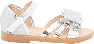 Shoexpress Flat Sandals with Glitter Finished Bow Accent
