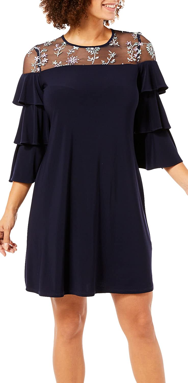 Gabby Skye Womens Ruffled Sleeve Dress Casual Dress
