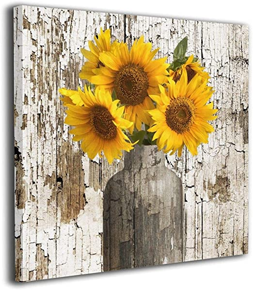 Amazon Com Rustic Floral Country Farmhouse Sunflower Modern Giclee Picture Print Framed Canvas Wall Art Modern Giclee Artwork Home Decor Ready To Hang Wall Decoration 9x13 Kitchen Dining