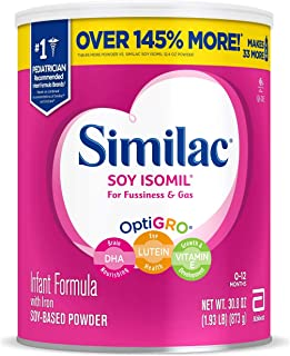 Similac Soy Isomil Infant Formula with Iron, Powder, 30.8 oz (Pack of 4)